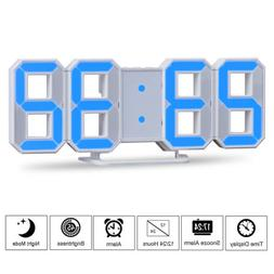 Blue LED Digital Numbers Wall Clock with 3 levels Brightness
