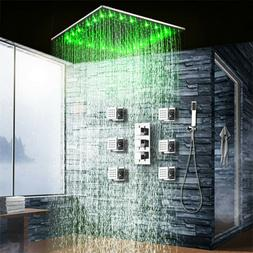Chrome LED Rainfall Shower Combo Set Ceiling Mounted Thermos