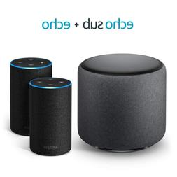 Amazon Echo Sub Bundle with 2 Echo  Devices - Charcoal Fabri