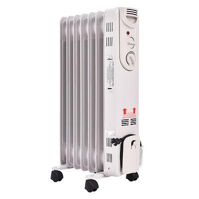 1500W Electric Oil Filled Radiator Heater Thermostat Room