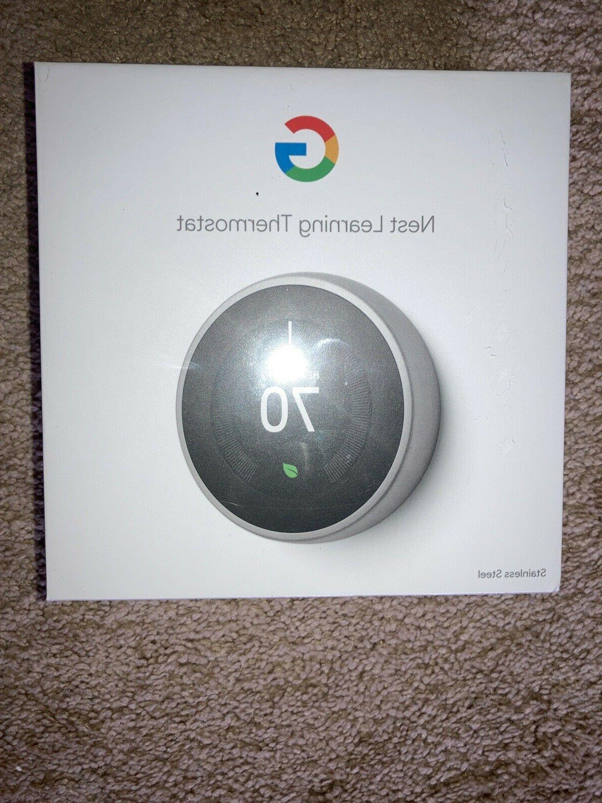 nest 3rd gen learning thermostat stainless steel