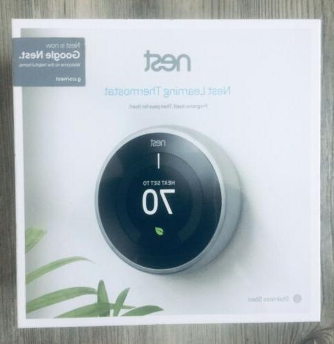 nest t3007es 3rd gen learning thermostat stainless