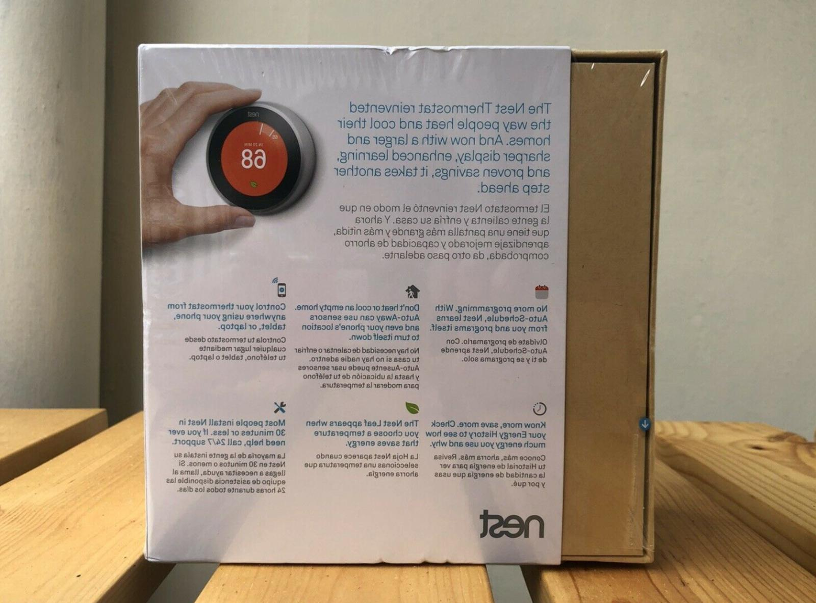 NEW Nest T3007ES Learning Thermostat 3rd Generation Steel