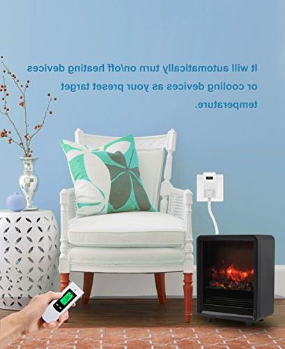 Nashone Temperature Thermostat with Remote Control Built in Sensor 3 Plug Display Cooling