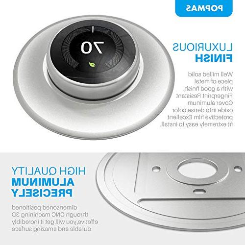 POPMAS Wall Plate for Nest Learning Thermostat Nest Thermostat E Stereoscopic Aluminum Round Silver