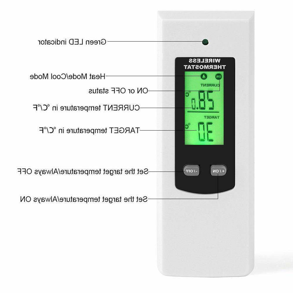 Wireless Thermostat with Control LCD Display Heating Cooling Mode