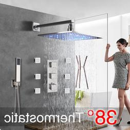 LED Brushed Nickel Shower Combo Set Thermostatic Shower Syst