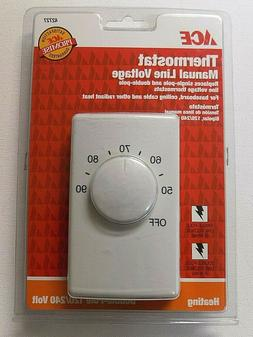 ACE MANUAL LINE VOLTAGE THERMOSTAT #42727 Double-Pole 120/24