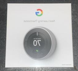Google Nest 3rd Gen. Learning Thermostat - Stainless Steel N