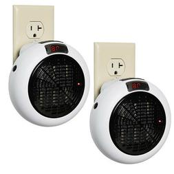 NEW 2 Pack 600W Insta Heater AC Outlet Mini Space Heater wit