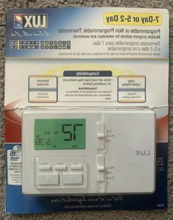 Lux Products TX100E 7-Day Programmable Thermostat, White