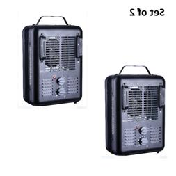 Set of 2 Portable Electric Space Heater Adjustable Thermosta