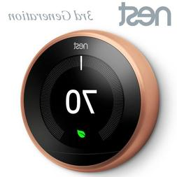 Nest Smart Learning Thermostat 3rd Generation Gen Copper WiF