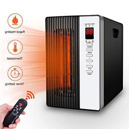 Space Heater 1500W Electric Heating Device with Remote, Temp