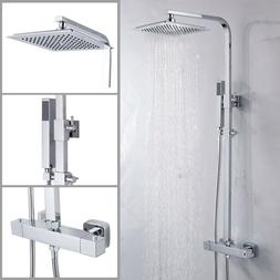 Square Thermostatic Shower Mixer Chrome Bathroom Exposed Twi